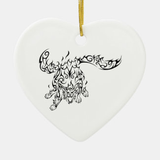 Ornement Cœur En Céramique tribal tiger