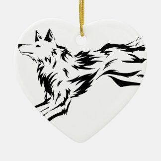 Ornement Cœur En Céramique Tribal wolf