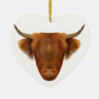 Ornement Cœur En Céramique Vache des montagnes écossaise à animal de l'Ecosse