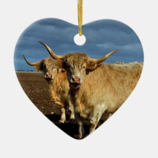 Ornement Cœur En Céramique Vaches des montagnes fauves,