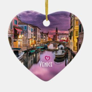 Ornement Cœur En Céramique Venise, canal pittoresque de l'Italie et