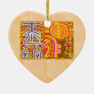 Ornement Cœur En Céramique ver 2013. Symboles PRINCIPAUX curatifs de REIKI