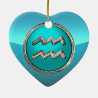 Ornement Cœur En Céramique Verseau - le signe d'horoscope de porteur de l'eau