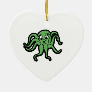 Ornement Cœur En Céramique vert d'enfant de calmar