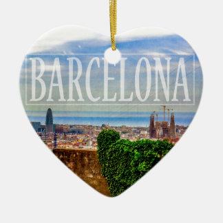 Ornement Cœur En Céramique Ville de Barcelone