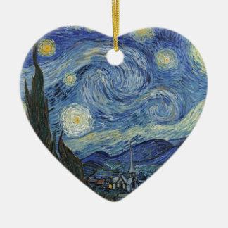 Ornement Cœur En Céramique Vincent van Gogh   la nuit étoilée, juin 1889