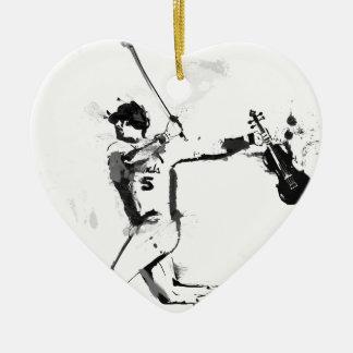 Ornement Cœur En Céramique Violoniste de base-ball