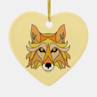 Ornement Cœur En Céramique Visage de Fox