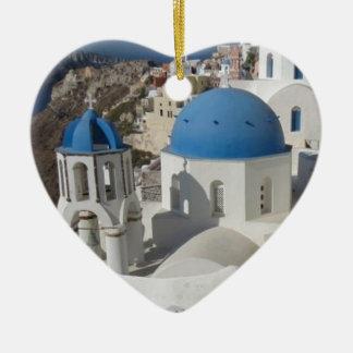 Ornement Cœur En Céramique Voyage de Mykonos Grèce