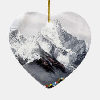Ornement Cœur En Céramique Vue panoramique de montagne d'Everest