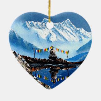 Ornement Cœur En Céramique Vue panoramique de montagne Népal d'Annapurna