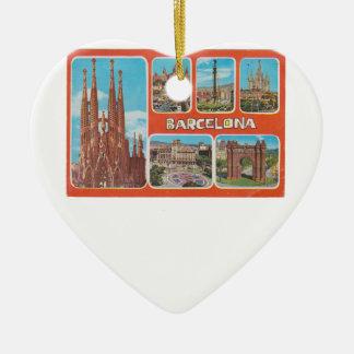 Ornement Cœur En Céramique Vue rétrospective de Barcelone