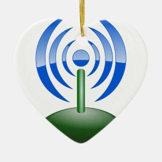 Ornement Cœur En Céramique Wifi Logo