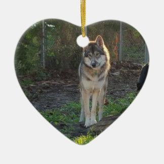 Ornement Cœur En Céramique Wolfdog au soleil