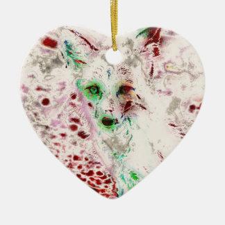 Ornement Cœur En Céramique Yeux de Fox de fantôme