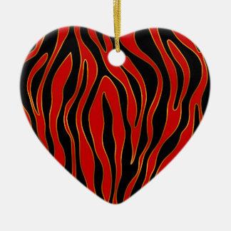 Ornement Cœur En Céramique Zèbre (rouge et or)
