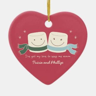 Ornement d'arbre de Noël d'amour de guimauve