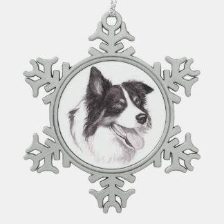 Ornement d'art de chien de border collie