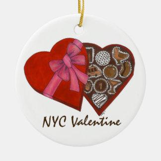 Ornement de boîte de coeur de chocolat de NYC