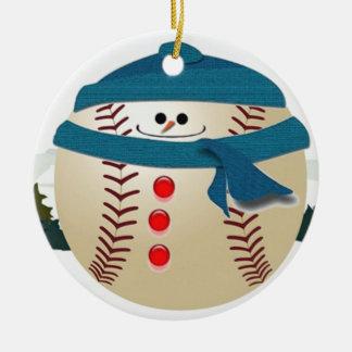 Ornement de bonhomme de neige de base-ball