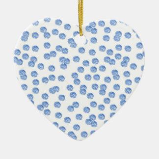 Ornement de coeur avec le pois de red&blue