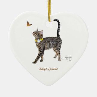 Ornement de coeur comportant Tabatha, le chat