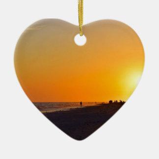 Ornement de coeur de coucher du soleil de Sanibel