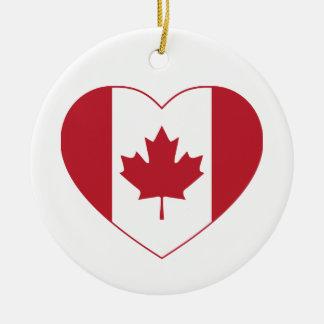 Ornement de coeur de drapeau du Canada