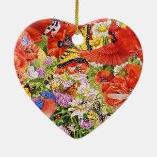 Ornement de coeur d'oiseaux, de papillons et