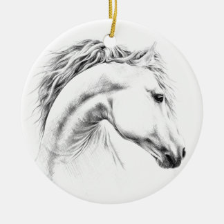 Ornement Rond En Céramique Ornement de dessin au crayon de portrait de cheval