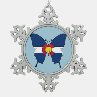 Colorado flag butterfly snowflake ornament