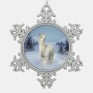 Ornement Flocon De Neige Ornement de flocon de neige d'étain d'alpaga de