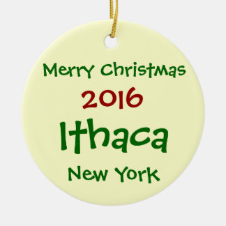 ORNEMENT DE JOYEUX NOËL DE 2016 ITHACA NEW YORK