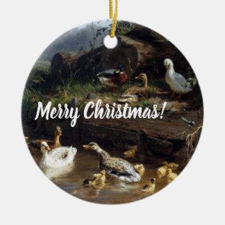 Ornement de Joyeux Noël d'étang d'oiseaux de