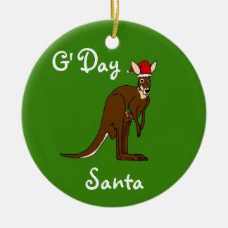 Ornement de kangourou de Noël de G'Day Père Noël