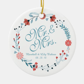Ornement de M. et de Mme Cute Floral Wreath