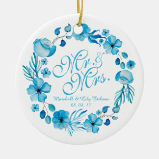 Ornement de M. et de Mme Floral Watercolor Wedding