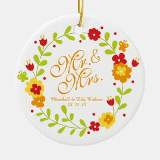 Ornement de M. et de Mme Floral Wreath Cheerful