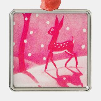 Ornement de Noël avec les cerfs communs roses