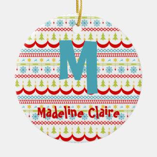 Ornement de Noël avec votre initiale et nom