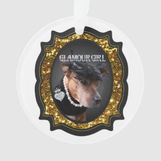 """Ornement de Noël de """"fille de charme"""" d'or de"""