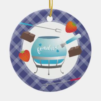 Ornement de Noël de fraises de chocolat de fondue