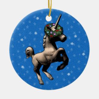 Ornement de Noël de licorne avec le texte fait sur