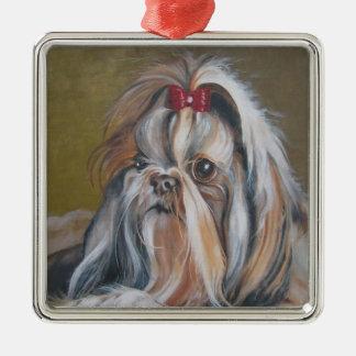 Ornement de Noël de peinture de chien de Shih Tzu