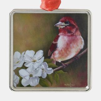 Ornement de Noël de peinture d'oiseau de pinson