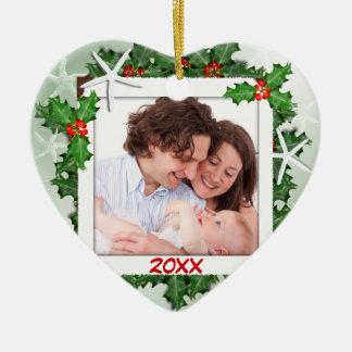 Ornement de Noël de photo de famille de coeur