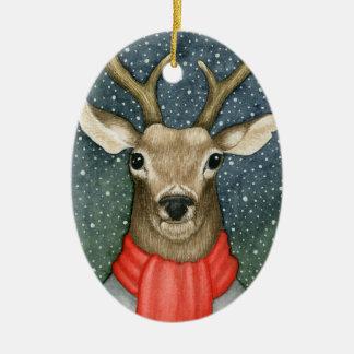 Ornement de Noël de portrait de cerfs communs