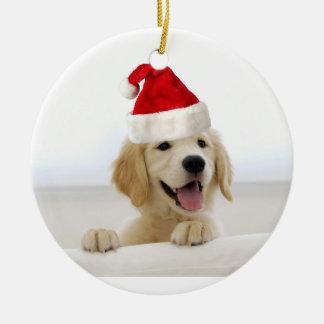Ornement de Noël de vacances de chiot de golden