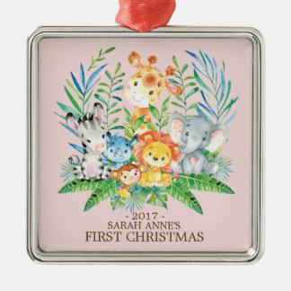 Ornement de Noël du bébé d'animaux de jungle