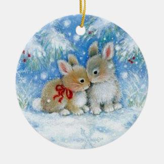 Ornement de Noël - lapins dans l'amour